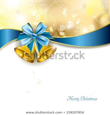 Wesoły christmas niebieski blask dzwon kartkę z życzeniami Zdjęcia stock © cienpies