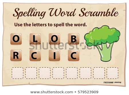 Spelling word scramble game with word brocolli Stock photo © colematt