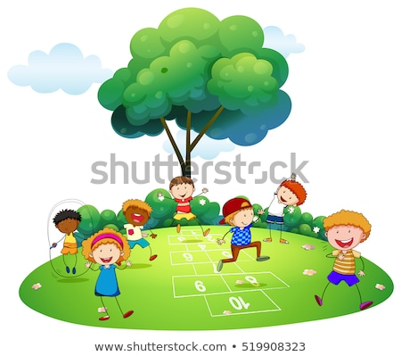 Many children playing hopscotch in the park Stock photo © colematt