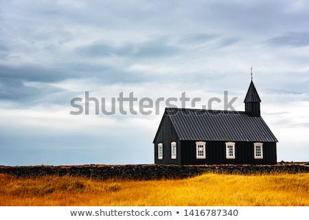 Fekete templom Izland fából készült híres turista Stock fotó © Kotenko
