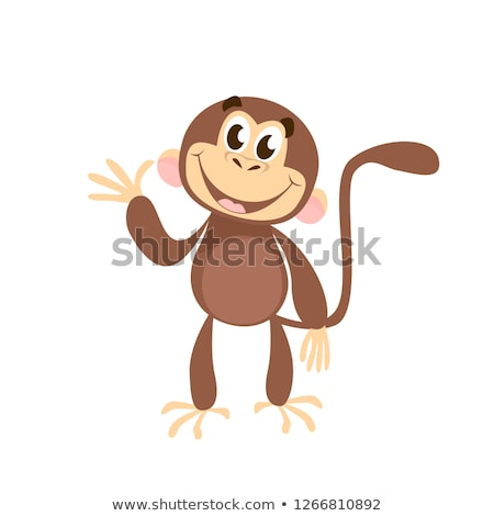 Cute Monkey Cartoon Character Waving For Greeting Stock photo © hittoon