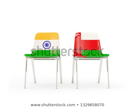 два стульев флагами Индия Оман изолированный Сток-фото © MikhailMishchenko