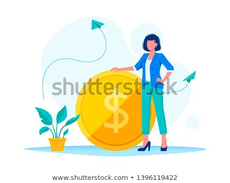 business woman standing on coins stock photo © netkov1