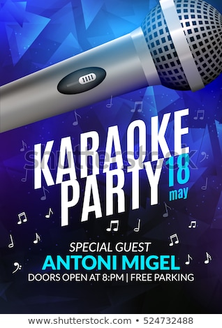 Karaoke Poster Vector. Party Flyer. Karaoke Music Night. Radio Microphone. Abstract Template. Rock F Stock photo © pikepicture