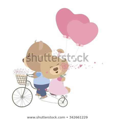 I Love You and Me Teddy Bears Vector Stock photo © robuart