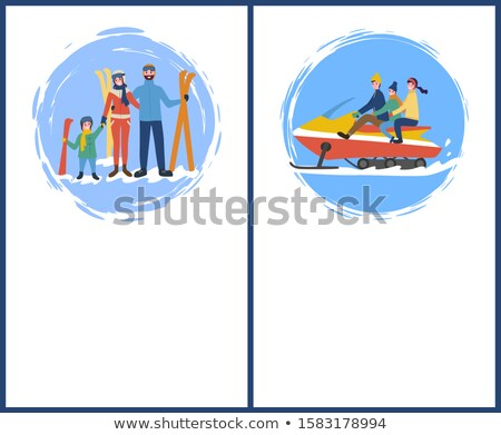 family skiing snowmobiling of father and mother stock photo © robuart