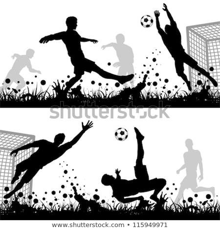 football or soccer game with players icon vector illustration Isolated on white. stock photo © kyryloff