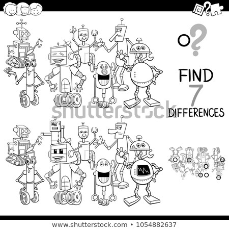 drawing and coloring worksheet with funny robot Stock photo © izakowski