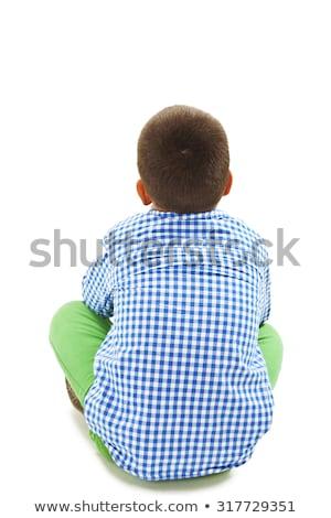 fiatal · srác · ül · stúdió · gyerekek · portré · fiú - stock fotó © monkey_business
