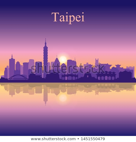 taipei city silhouette on sunset background stock photo © ray_of_light