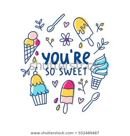 Cartoon cute doodles hand drawn Ice cream illustration. Funny raster artwork Stock photo © balabolka