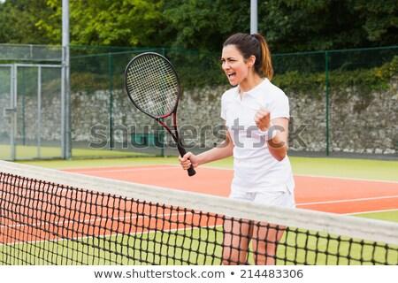 csinos · fiatal · női · teniszező · teniszpálya · sekély - stock fotó © pressmaster