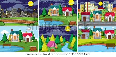 set of nature scenes day and night rural and urban stock photo © bluering
