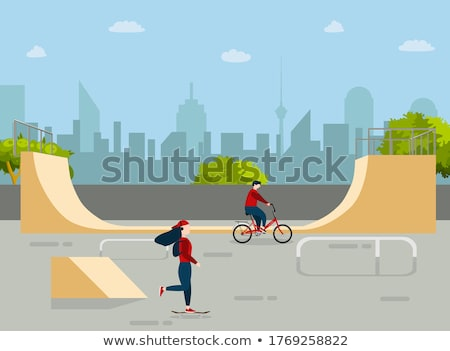 Skateboarder and Bicyclist in Park, Nature Vector Stock photo © robuart