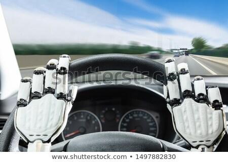 Robotachtige handen stuur auto auto Stockfoto © AndreyPopov