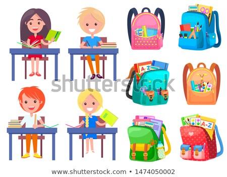 Vissza az iskolába képeslap hátizsák felirat vektor első Stock fotó © robuart