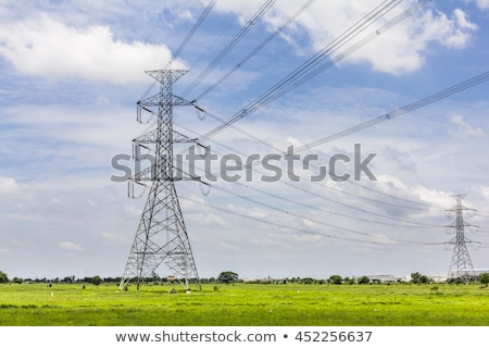 Erő energia elektromos feszültség vonalak nagyfeszültség elektromosság Stock fotó © simazoran