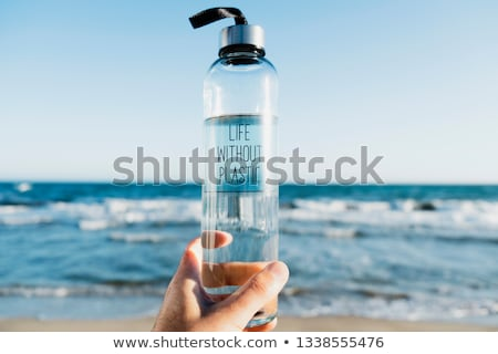 reusable water bottle with the text plastic free Stock photo © nito