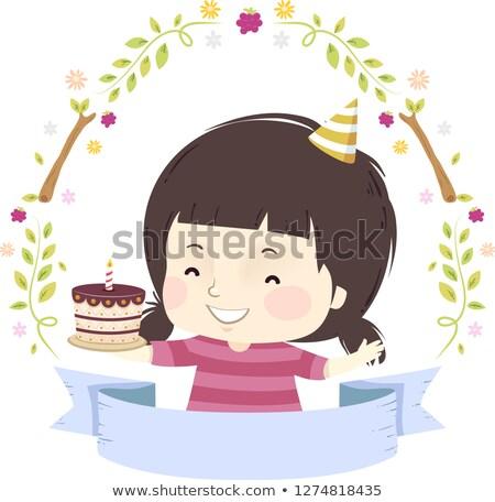 Criança menina bolo de aniversário fita ilustração festa Foto stock © lenm