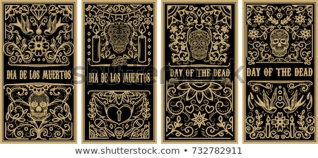 Day of the dead mexican sugar skull icon card Stock photo © cienpies