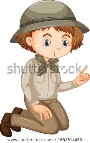 Cute girl in safari outfit sitting on the floor Stock photo © bluering