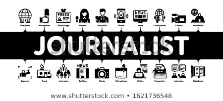 Periodista reportero mínimo infografía banner vector Foto stock © pikepicture