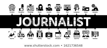 Journalist verslaggever banner vector Stockfoto © pikepicture