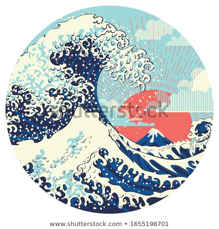цунами Гора Фудзи красный солнце морем синий Сток-фото © mayboro
