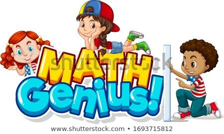 Doopvont ontwerp woord math genie gelukkig meisje Stockfoto © bluering
