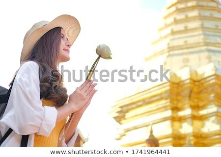 lótusz · rügy · Thaiföld · templom · virág · szobor - stock fotó © smithore