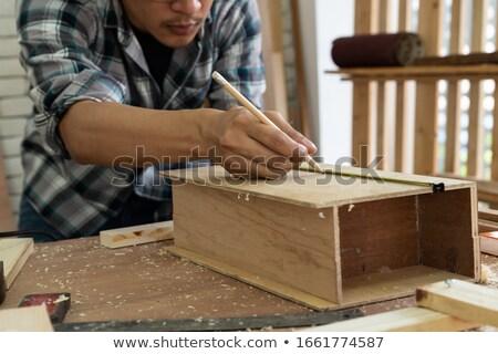 Jeunes charpentier souverain affaires main bois Photo stock © photography33