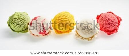 pisztácia · fagylalt · merítőkanál · tál · fából · készült · textúra - stock fotó © m-studio