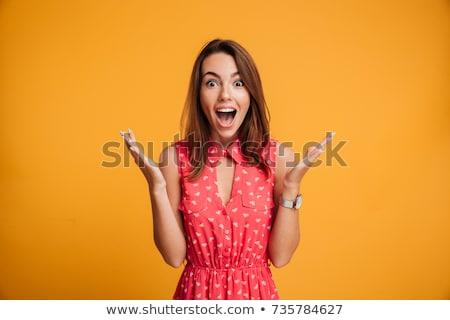 meglepett · csinos · nő · kinyitott · száj · kezek · fej - stock fotó © photography33
