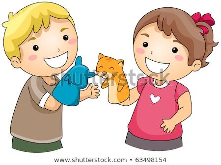 Fille gant marionnette enfant jouet jouer Photo stock © phbcz
