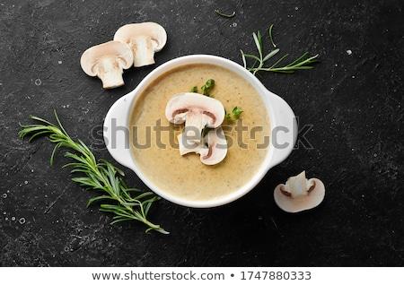 funghi · zuppa · ciotola · tavola · alimentare · verde - foto d'archivio © m-studio