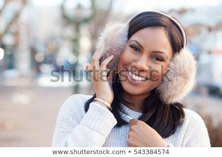 gyönyörű · nő · visel · fül · gyönyörű · barna · hajú · nő - stock fotó © stryjek