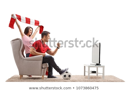 Foto stock: Casal · jovem · tv · fãs · televisão · quadro