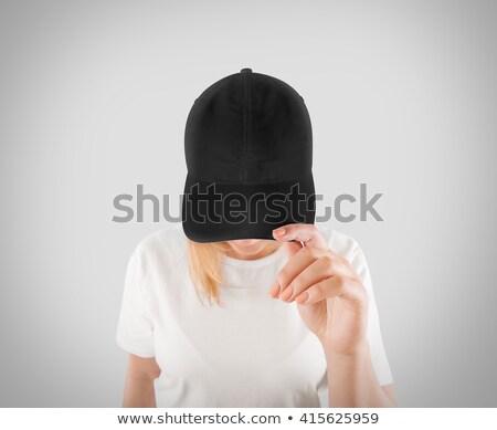kadın · beyaz · gömlek · siyah · şapka - stok fotoğraf © Victoria_Andreas