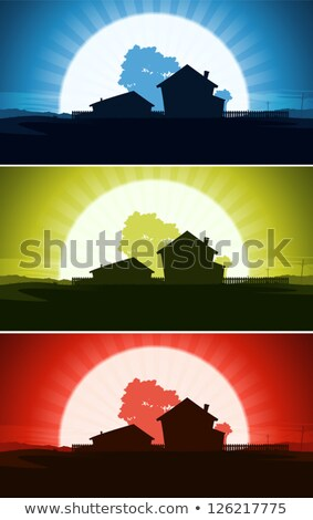Set Of Ranch House In Wild Country Landscape Stock photo © benchart