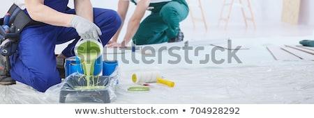 Schilder vrouw borstel emmer verf werken Stockfoto © Aleksa_D