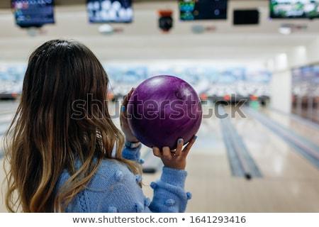 Dziewczyna bowling ball dziecko tle sztuki Zdjęcia stock © zzve