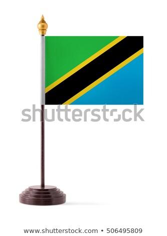 Miniatur Flagge Tansania isoliert grünen Stock foto © bosphorus
