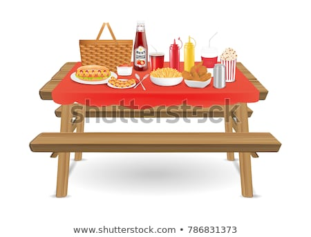 illustration of a picnic table with food on it Stock photo © antonbrand