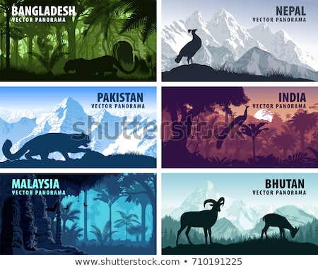 Indian nature. Panorama with mountains and goats Stock photo © pzaxe