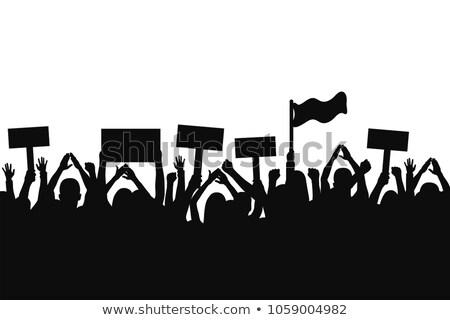 Demonstracja ulicy flagi banery odizolowany człowiek Zdjęcia stock © Kirill_M