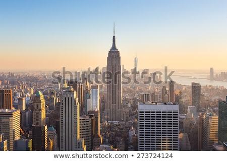 Empire State Building épület kék sziluett fehér ablakok Stock fotó © hanusst