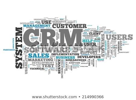 Crm címke felhő vektor üzlet terv Stock fotó © burakowski