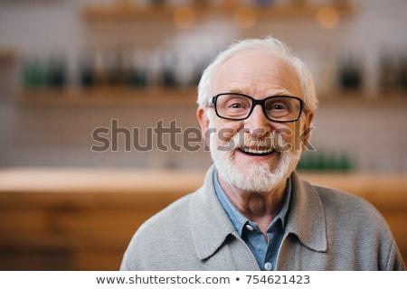 glimlachend · senior · man · cardigan · leeftijd · mode - stockfoto © feedough