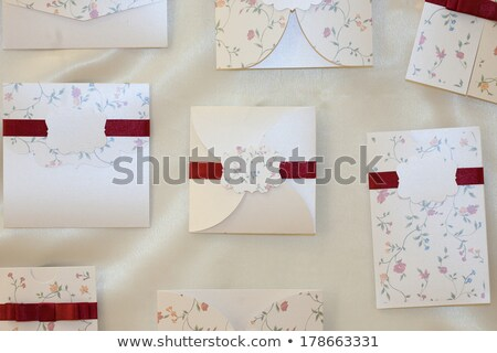 Handmade wedding invitation made of silver paper Stock photo © gsermek