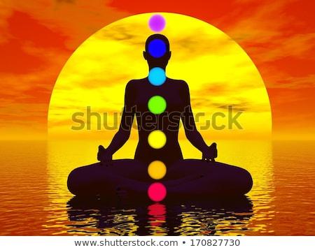 tramonto · rendering · 3d · buddha · sette · colorato - foto d'archivio © elenarts